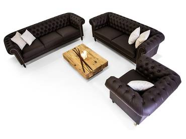 CHESTERFIELD Santos 3-2-1 Sofa Garnitur Kunstleder braun