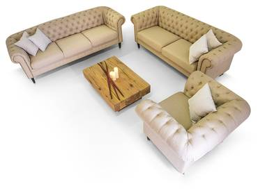CHESTERFIELD Santos 3-2-1 Sofa Garnitur cappuccino