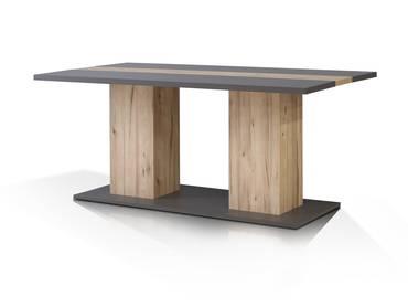 CLARA Esstisch 180x90 cm wolfram grau/Planked Eiche