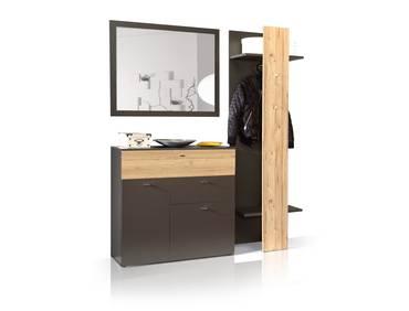 CLARA I Garderobenset grau/Planked Eiche