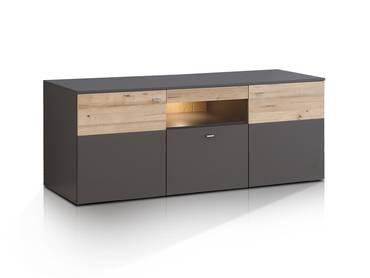 CLARA TV-Lowboard Wolfram grau/Planked Eiche