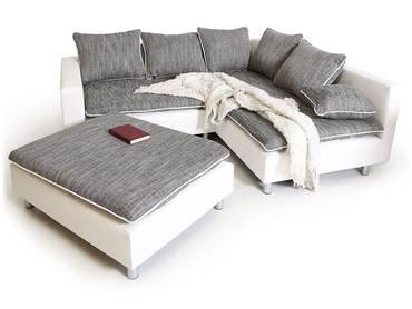 DAGGI Ecksofa / Sofa / Couch weiss/hellgrau