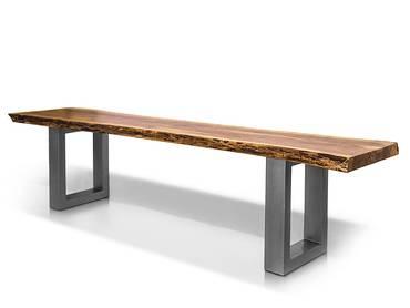 DALIN Sitzbank Akazie massiv/ Metallfüße
