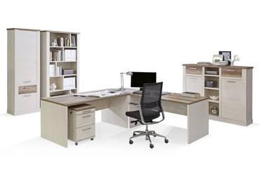 DAGUR Komplett-Büro Pinie weiß/Eiche Antik
