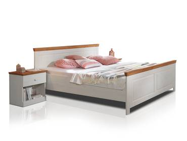 DOVER Doppelbett 180x200 cm Kiefer weiß/honig