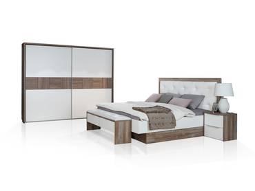 EVANDO Komplett-Schlafzimmer, Material Dekorspanplatte, Picea kieferfarbig/weiss