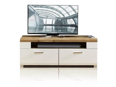 FELIPA TV-Unterteil weiß/Eiche/Hirnholz