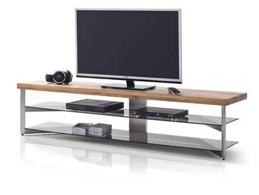 FRIEDA TV-Lowboard Eiche/Glas grau