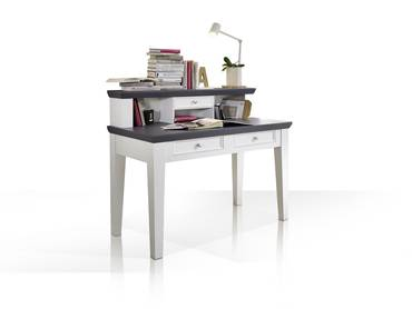 Eckschreibtisch weiß mit aufsatz  ADRIANA Schreibtisch weiss