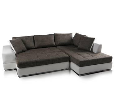 HUSAM Sofa Kunstleder weiss Webstoff grau