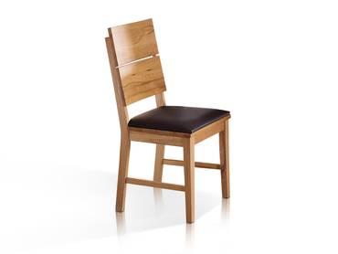 KAI Massivholz Esstischstuhl / Sitzfläche PVC braun