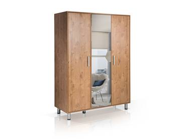 HOTEL Kleiderschrank 3trg mit Spiegel, Material Dekorspanplatte, wildeeichefarbig