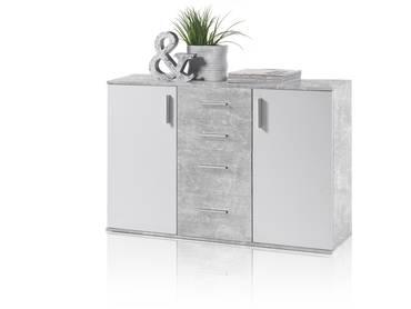 BANJO V Kommode betongrau/weiß