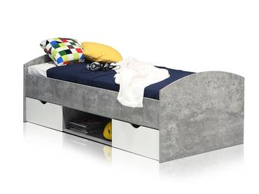 LILLY Jugendbett/Funktionsbett 90x200 cm, Material Dekorspanplatte betonfarbig/weiss