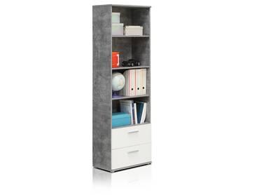 LILLY Regal mit 2 Schubkästen, Material Dekorspanplatte, betongrau/weiss