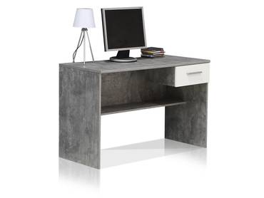 LILLY Schreibtisch Beton/weiß