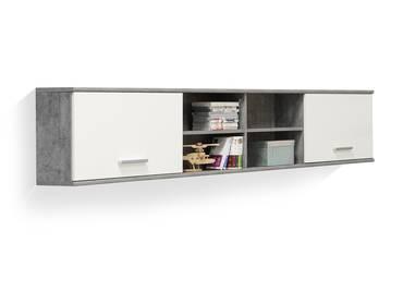 LILLY Wandregal mit 2 Türen, Material Dekorspanplatte, betonfarbig/weiss