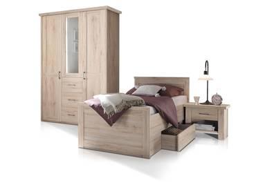 LÜTTICH Komplett-Schlafzimmer, Material MDF, Eiche sanremofarbig