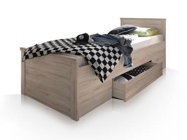 LÜTTICH Komfortbett/Einzelbett 100x200 cm, Material MDF, Eiche sanremofarbig