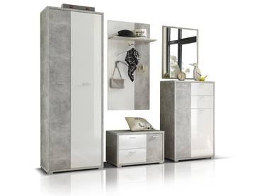MARIC Garderobenset betongrau/weiß