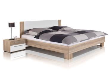 MARTINA Doppelbett inkl. 2 Nachttische, Material Dekorspanplatte, Eiche sonomafarbig/weiss