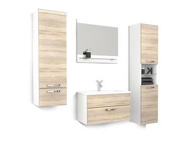 MARY 4-teiliges Badezimmer Eiche Sonoma/weiß