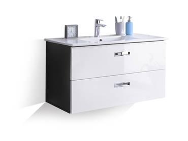 MAY Waschbeckenunterschrank inkl. Becken grau/weiss