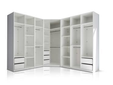 MELBOURNE Kleiderschrankset ohne Türen, Material Dekorspanplatte, weiss