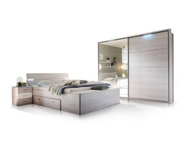 MILENA Schlafzimmer Futonbett + Schweber weisseiche