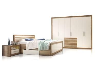 NANDO Komplett-Schlafzimmer Canyon Oak Dekor/weiss