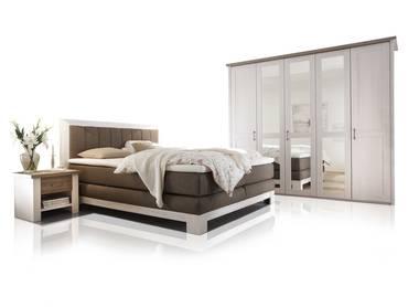 NOAH Schlafzimmer 180x200 cm Pinie weiss / trüffel
