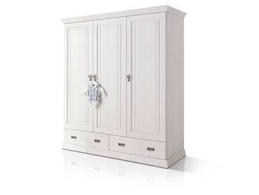 ODETTE Kleiderschrank 3trg Kiefer Massivholz/weiß gewachst