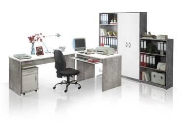 OFFICE COMPACT Heimbüro Beton/weiß