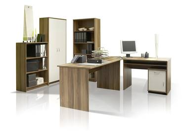 office line heimb ro 9tlg eiche sonoma wei. Black Bedroom Furniture Sets. Home Design Ideas