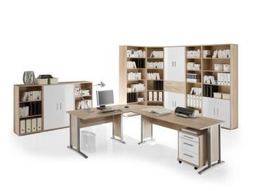 OFFICE LINE Heimbüro 9tlg Eiche Sonoma/weiß