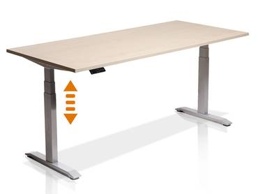 OFFICE ONE elektrisch höhenverstellbarer Schreibtisch/Stehtisch, Material Dekorspanplatte