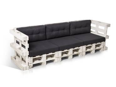 PALETTI 3-Sitzer Sofa aus Paletten weiß lackiert