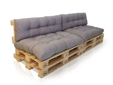 PALETTI II 2-Sitzer Sofa Fichte natur/Kissen grau