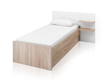 PIANA Einzelbett 90x200 cm, Material Dekorspanplatte, Eiche sonomafarbig/weiss