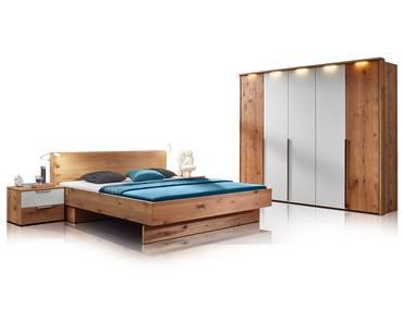 RIVERA Komplett Schlafzimmer Alteiche Bianco/weiss Glas