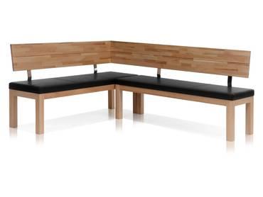 SALIMA Eckbank Massivholz mit Kunstleder bezogen 208 x 171 cm | links | Kernbuche lackiert | schwarz