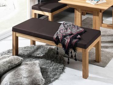 SALIMA Sitzbank ohne Rücken Massivholz mit Kunstleder bezogen 130 cm | Eiche geölt | dunkelbraun