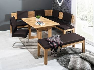 SALIMA Eckbank Massivholz mit Kunstleder bezogen 248 x 171 cm | rechts | Eiche geölt | dunkelbraun