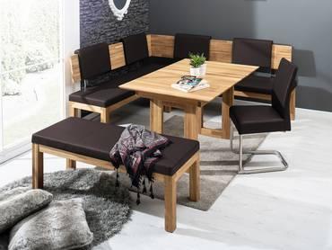 SALIMA Eckbank Massivholz mit Kunstleder bezogen 190 x 150 cm | links | Eiche geölt | dunkelbraun