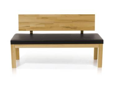 SALIMA Sitzbank mit Rücken Massivholz 150 cm | Eiche geölt | dunkelbraun