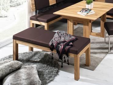 SALIMA Sitzbank ohne Rücken Massivholz mit Kunstleder bezogen 150 cm | Eiche geölt | rehbraun