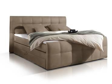 SAMARA Boxspringbett, integrierter Bettkasten, 180x200 cm sand