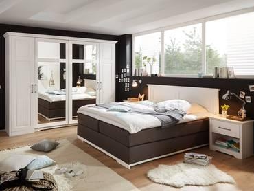 SAMIRA Komplett Schlafzimmer Kiefer weiss/stone