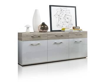 SIMBA Sideboard weiß/Sandeiche