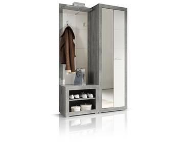 STAN Garderobe betongrau/weiß